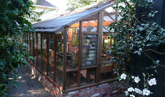 Greenhouse with brick base